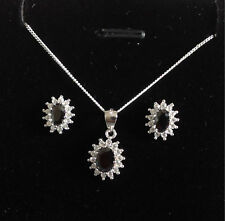 925 Sterling Silver Jet Black Cluster Pendant Necklace & Earring Set Present