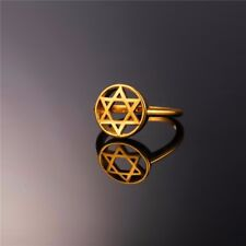 Round Seal Of Solomon Star Of David 18K Gold Plated GP Men Women Size 6-11 Ring