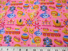 Discount Fabric Cotton Apparel Pink Carnival Day Trains Carousel Lion K301