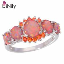 Women Stone Ring Silver Plated Orange Garnet Oval Rings Wedding Gift Jewelry
