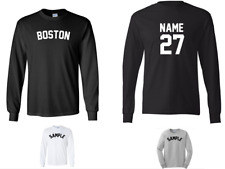 City of Boston Custom Personalized Name & Number Long Sleeve Jersey T-shirt