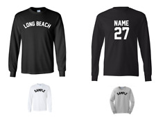 City of Long Beach Custom Personalized Name & Number Long Sleeve Jersey T-shirt