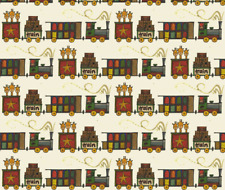Travel Trip Transportation Train Fabric Printed by Spoonflower BTY