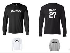 City of Baltimore Custom Personalized Name & Number Long Sleeve Jersey T-shirt