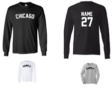 City of Chicago Custom Personalized Name & Number Long Sleeve Jersey T-shirt