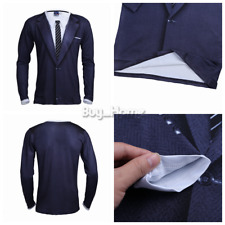 2017 Men's Luxury 3D Casual Long Sleeve Tuxedo Shirts Slim T-Shirt Top S M-XL