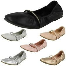 Ladies Spot On Rouched Topline Flat Ballerinas