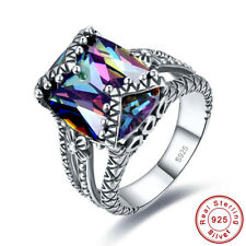 Solitare Gift Emerald Cut Rainbow Topaz 100% 925 Sterling Silver Ring Sz 6 7 8 9