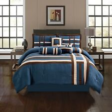 Soft Suede Navy & Brown Double Cross 7 Piece Comforter Set - ALL Sizes