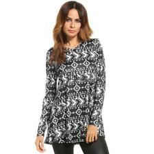 Women Casual V-Neck Long Sleeve Print Loose Fit Blouse Tunic Tops BTSY