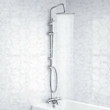 BATHROOM 3 WAY EXPOSED SQUARE TWIN HEAD THERMOSTATIC SHOWER MIXER VALVE CHROME