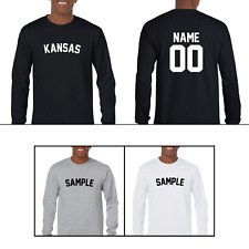 State Kansas Custom Personalized Name & Number Long Sleeve Jersey T-shirt