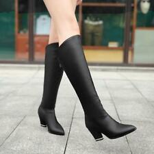 Womens Pointy Toe Riding Zip Mid Cuban Heel Knee High Winter Boots Knight Shoes
