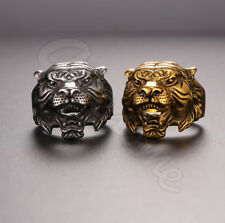 Stainless Steel Men Gold 7-14 Size Tiger Head Ring