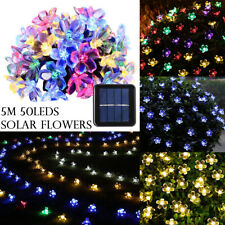 White 50 LEDs String Solar Powered Fairy Lights Garden Party Christmas Outdoor