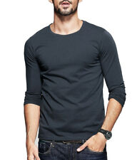 5 Colors Mens Casual T Shirt Round Neck Long Sleeve Slim  Personalized Tee M-XXL