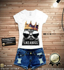 Like a Boss Funny Cat T-shirt Ladies Sunglasses Kitty Top Parody Tee Shirt WD151