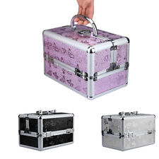 Large Beauty Cosmetic Box Sequins Make Up Vanity Case Nail Tech Hair Salon Bag