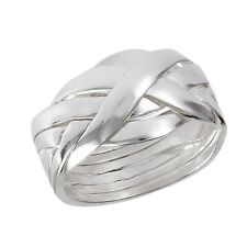 .925 Sterling Silver 6 Pc Interlocking Puzzle Band Ring Sizes  6- 12