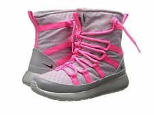 NEW NIKE GS GIRLS' WLF GRY/HYPR PNK ROSHERUN HI SNEAKERBOOT FLASH SZ 5.5Y & 6Y