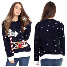 New WOMENS XMAS JUMPER LADIES RUDOLPH TO THE PUB KNITTED CHRISTMAS JUMPER  TOP