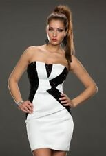 NEW SEXY WHITE AND BLACK SEQUIN STRAPLESS COCKTAIL PARTY DRESS SIZE 8, 10, 12