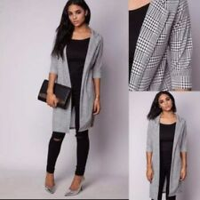 Womens Ladies Houndstooth Collard Dog Tooth Longline Duster Blazer Jacket Top