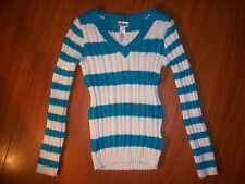 Girls Justice Brand Blue / Green Striped Sparkly V neck Sweater Size 6 NEW