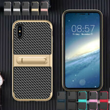 Carbon Fiber Hybrid Shockproof Hard Plating Bumper Stand Case Cover For Iphone X