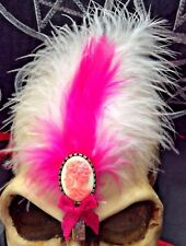 ZOMBIE, CORPSE, PINK FEATHER HAIR CLIP...Goth,Lolita,Steampunk,Rockabilly,Pin-Up