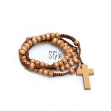 New Unisex Wooden Beads Rosary Necklaces with Pendant Cross TXST
