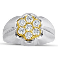 14K TWO-TONE GOLD  1CT DIAMOND MEN'S RING -  ALSO AVAILABLE IN 10K GOLD