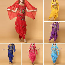 Hot Adult Belly Dance Costume Set Bollywood Wavy Harem Top Pants Belt Party Set