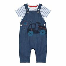Bluezoo Kids Baby Boys' Blue Denim Embroidered Truck Dungarees And T-Shirt Set