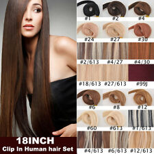18inch 70g 7pcs Human Hair Set 100% Remy Clip In Human Hair Extensions