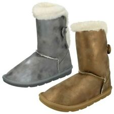 Girls Spot On Faux Fur Lined Winter Boots