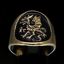 BRONZE MENS MEDIEVAL COSTUME RING WITH A GRIFFIN GRYPHON DRAGON BLACK ANY SIZE