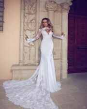 Long Sleeves Lace Mermaid Wedding Dress Size 4 6 8 10 12 14 16 18 20 22 24 26 28