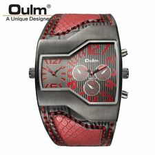 Oulm Top Luxury Brand Men Quartz Watches Double Time Show Snake Band Casual Male