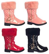 Kids Girls Quilted Boots Thigh Winter Low Fur High Heel PU Glossy Block UK1-13