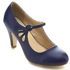 Chase & Chloe Kimmy-21 Womens Round Toe Mid Heel Mary Jane Pumps Shoes Blue