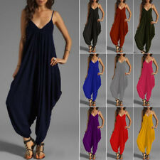 Womens Sleeveless Summer Baggy COMFY Jumpsuit Playsuit Harem Pants Beach Dress