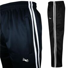 Mens Tracksuit Bottoms Casual Gym Jogging Joggers Sweat Pants Striped Silky Open