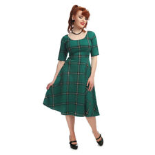 Collectif Vintage Green Amber Evergreen Check Swing Dress Sz 8 - 22 1950s