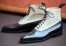 Hand Crafted Two Tone Ankle Boots, Casual White Black Denim Leather Boots Men's