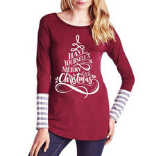 New Womens Ladies Christmas Round Neck Long Sleeve Casual T-shirt Tops Blouse