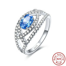 Wedding Gift Oval Swiss Blue & White Topaz 925 Sterling Silver Ring Size 6 7 8 9