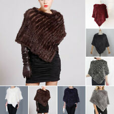 Womens Ladies Real Rabbit Fur Trimming Knitted pullovers Stole Cape Poncho Wraps