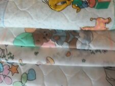 VINTAGE PRE-QUILTED BABY PANELS PRECIOUS MOMENTS SHEET FABRIC BIBS &TWEETY BIRD