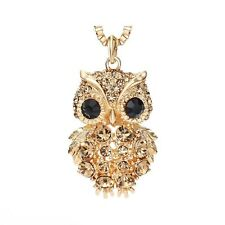 Czech Rhinestone Light Yellow Gold Color Fashion Owl Long Sweater Chain Necklace